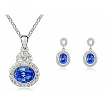 Design Bridal Wedding Dress jewelry set for lover woman pendant necklace earring sets Crystal from Swarovski