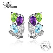 JewelryPalace Multicolor 2.5ct Genuine Amethyst Peridot Blue Topaz Clip On Earrings 925 Sterling Silver for Women Fine Jewelry