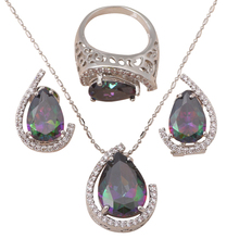 Luxury Design Pendants Earrings Ring Set silver 925 Inlay Mystic Zircon Zircon Fashion Jewelry set Sz #6.5 #7.5 #8.5 MS034A(China)
