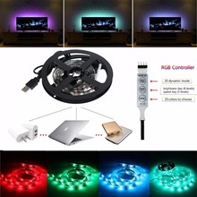 1M USB 5V RGB LED Strip Light 3528/5050 Black PCB With Switch neon TV Background Lighting 60LEDs/m Non-waterproof IP20