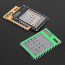 Mini 8Digit LCD Solar Powered Transparent Solar Calculator Touch Screen Electronic Scientific Calculator with Calculating Tool