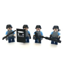 4pcs Assault squad City swat gun police military tactical lepin model weapons accessories lepin mini figures original Block toy