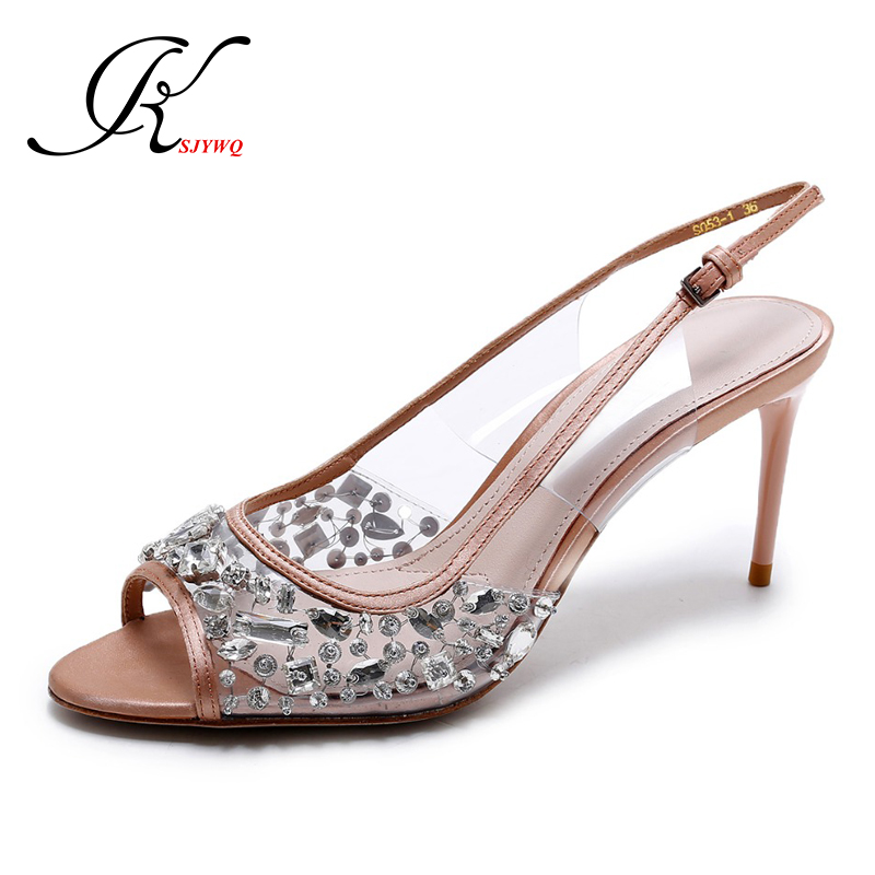 KSJYWQ 2017 Gladiator Crystal diamonds Shoes Sexy Peep-toe Women Sandals Genuine leather pumps 8 cm high heels Box Packing L072(China (Mainland))