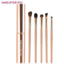 5PCS Professional Natural Pony Hair Eye Makeup Brushes Set Eyeshadow Eyeliner Lip Brush Makeup Tools With Portable Round Tube