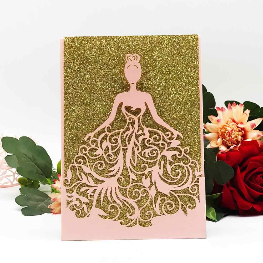 50pcs/lot Bat Mitzvah decoration laser cut Beautiful dress girl pretty  bride design wedding invitation cards Adult Ceremony QJ68 card flashlight  card cellphonecard server - AliExpress