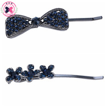 Haimeikang 1PC Retro Women Blue Crystal Flower Bowknot Hair Clip Barrette Headwear Princess Elegant Hairpin Hair Accessories