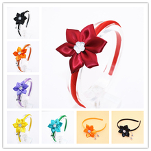 Cute Grosgrain Ribbon Flowers Headbands Shiny Kids Solid Color Stars Hair Band Girls Hair Accessories(China)