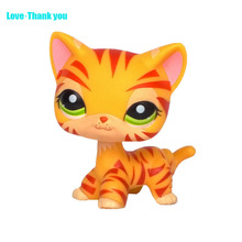 Tiger-Cats Girl's Collection toy EUROPEAN cat Kitty LPS Toy #1451 Kids gift Cute pet rare style Green eyes