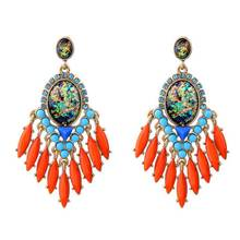 Wholesale Gold Chandelier Earrings for Women Abalone Semi-precious Stone Statement Earrings 2017