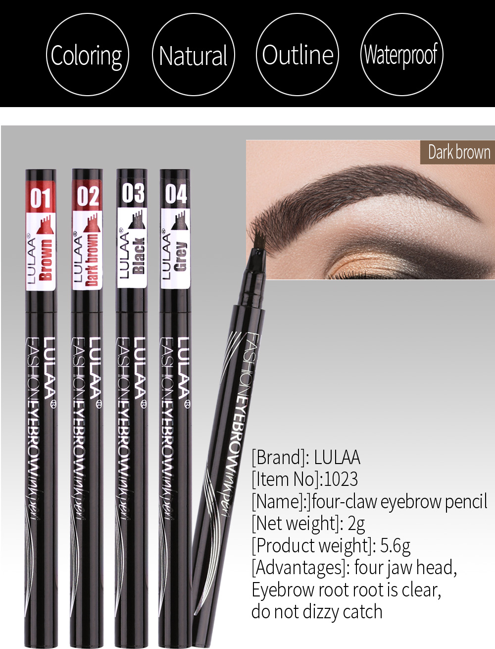 Waterproof Natural Eyebrow Pen Four-claw Eyebrow Tint Makeup Pencil Four  Colours Available