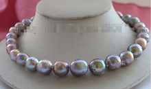 "Free Shipping 17"" Genuine Natural 13-15mm Purple Edison Reborn Keshi Pearl Necklace 14KGP #f2445"