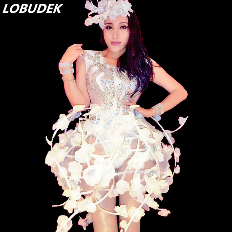 White Flowers Female DJ costume Crystals sexy bodysuit singer dancer nightclub Stage Party Bar Catwalk show performance catsuit
