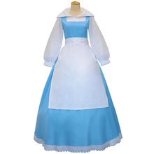 Anime Beauty and the Beast Princess Belle Blue Maid Uniform Cosplay Costume Full Set Halloween Party Performance Apron Dress
