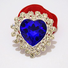 Cheap Retail Silver Color Big Blue Heart Crystal Luxury Brooch Women Costume For Wedding Hot Selling Lady Detailed Pins Brooches