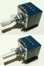 1pc Japan ALPS RK27 100KAX2 Volume LOG Stereo Potentiometer 2-gang Dual 100K Slotted/Knurled Shaft