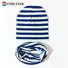 2017 Baby Hat Scarf Baby Cotton Knitted Striped Cap Scarf For Baby Boy And Girl Children's Winter Hats Caps Headwear Accessories