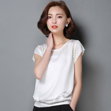 Buy Blouse Shirt Women Blusas Lace Patchwork Blouses 2018 Summer Short Sleeve Shirt Elegant Ladies Tops Plus Size Womens Clothing for $5.90 in AliExpress store