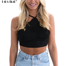 Women Summer Cropped Top Halter Straps Black Brown Tees Tops Female Sleeveless Suede Spandex Short T-Shirts For Girls SWL0321-45