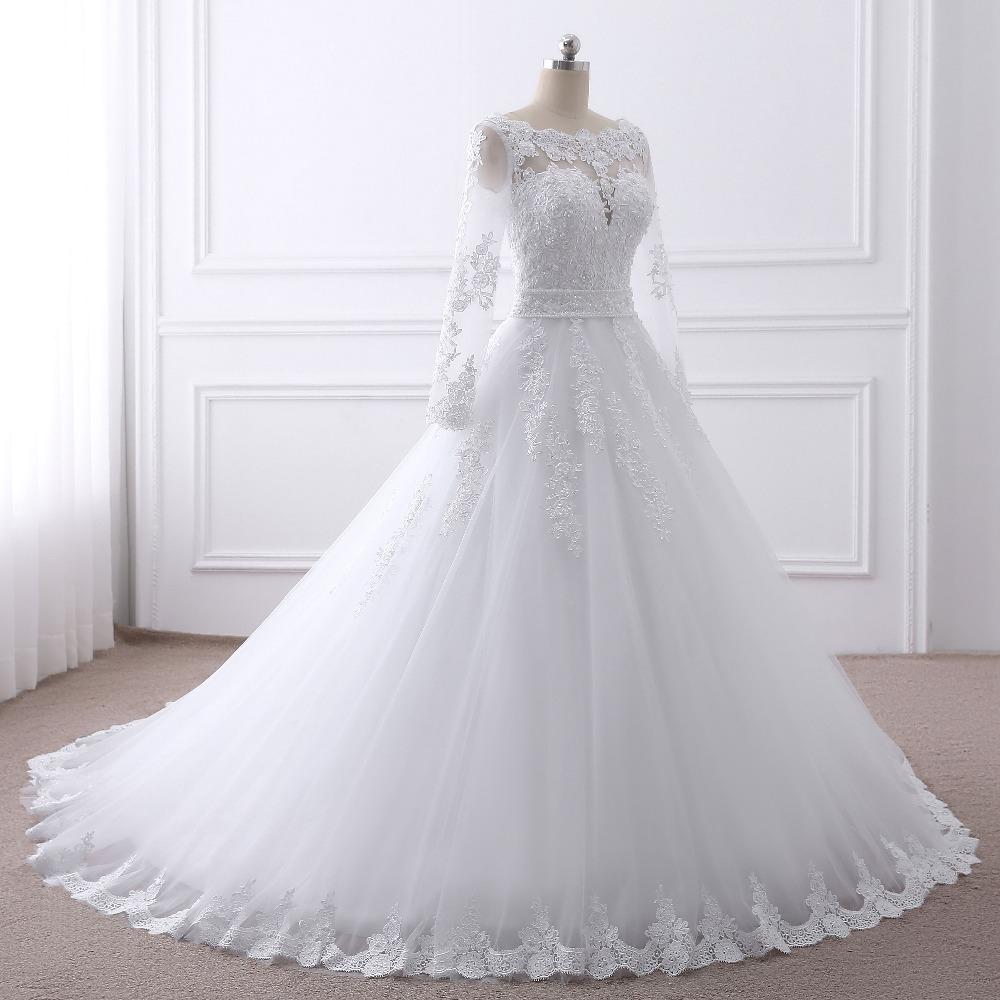 2017 new Vestido de noiva Long Sleeves Wedding Dresses Sexy Back Bride Dresses Wedding Gowns Princess Casamento Robe de Mariage 3