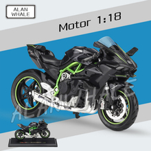 1:18 Scale New Metal Diecast Model Motorcycle Kawasaki Ninja H2 R Alloy Rubber Motorbike Racing Cars Toys Boy Vehicle Collection