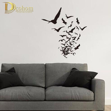A Flock Black Flying Birds Home Decoration 3D Wall Sticker For Living Room Home Decor Wall Decals Art Mural Poster