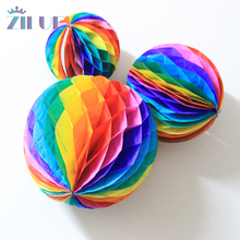 Zilue Multicolor Honeycomb Ball Lantern Paper Flowers Shop Decoration Holiday Wedding Party Outdoor Square Decorations(China)