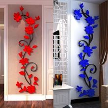 2017 New Fashion Beautiful 3D Flower Decal Vinyl Decor Art Home Mural Living Room Wall Sticker Removable Mural Home Art Sticker