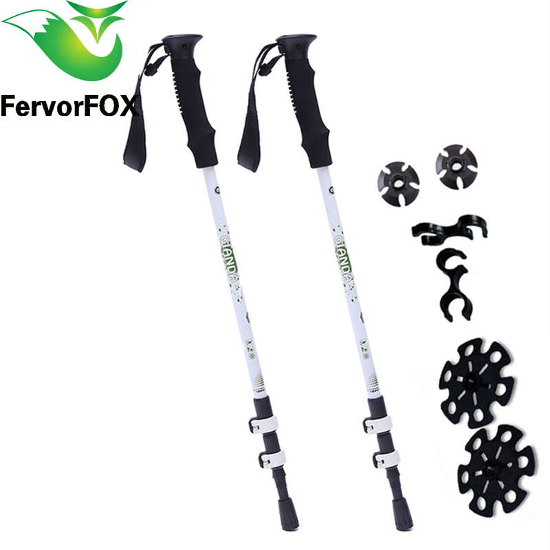 2Pcs/lot Anti Shock Nordic Walking Sticks Telescopic Trekking Hiking Poles Ultralight Walking Canes With Rubber Tips Protectors<br>