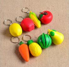 50Pcs mixed fruit foam ball creative key chains Watermelon pear lemon pineapple carrot corn apple tomato keychains EE18(China)