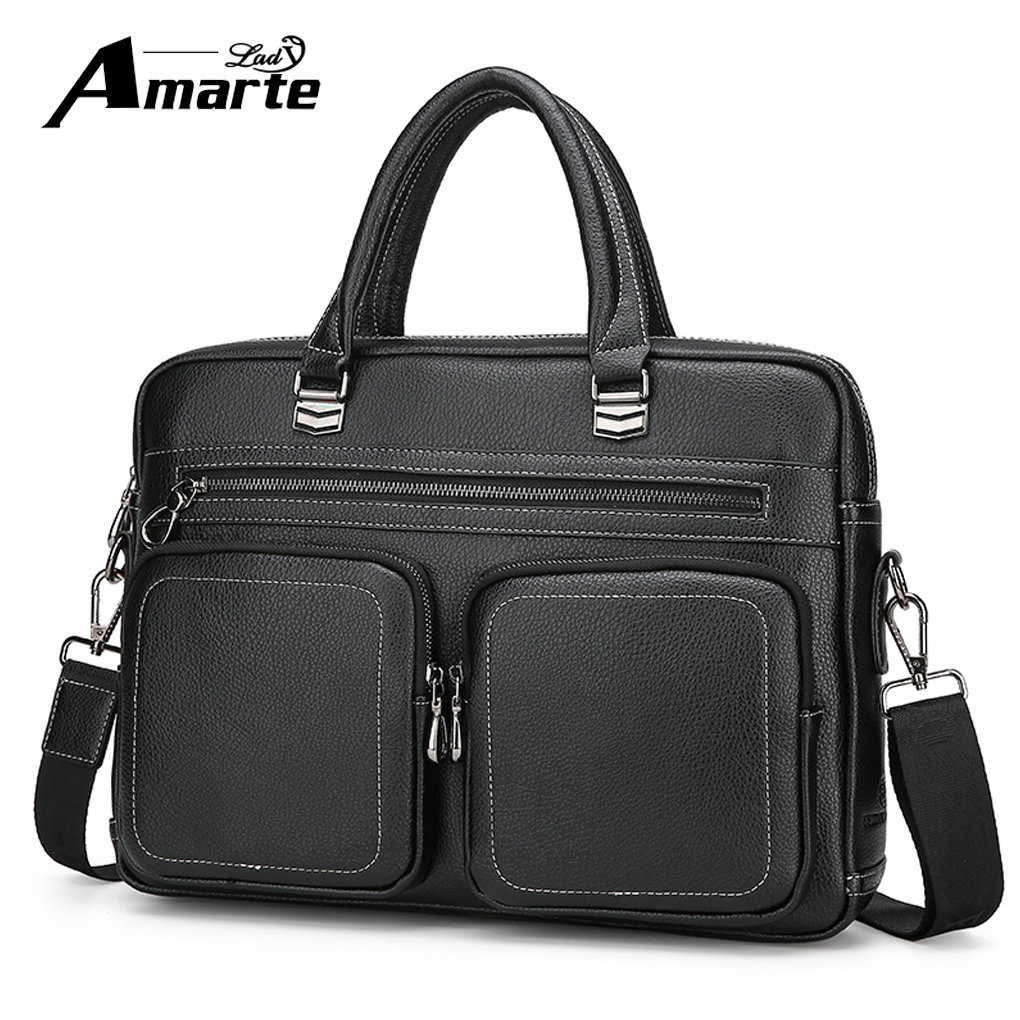 Amarte Top Sell Fashion Simple Dot Famous Brand Business Men Briefcase Bag Leather Laptop Bag Casual Man Bag Shoulder Bags<br>