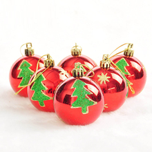 6Pcs Christmas Balls Baubles Red, Blue, Pink Round Bauble Ornament Xmas Tree Home Christmas Decoration Hanging Ball(China)