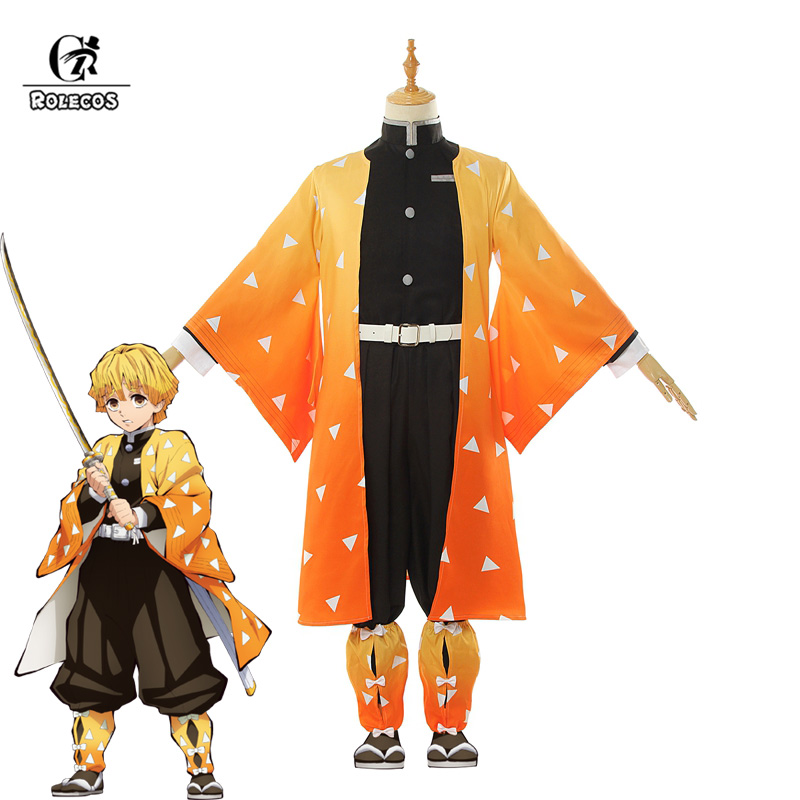ROLECOS Anime Costume Kimetsu no Yaiba Cosplay Demon Slayer Agatsuma Zenitsu Cosplay Costume Men Kimono Halloween Costume