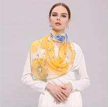 HL772 Women's 100% Mulberry silk pashmina printing scarf  8 momme silk georgette  55cm*180cm hand screen print made in Hangzhou