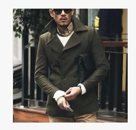 Green Wool Trench Coat Mens Promotion-Shop for Promotional Green ...