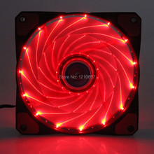 1PCS 3Pin 4 Pin Cooling CPU Heatsink Fans 15 LED Red Light for Computer PC Case 120 x 25mm