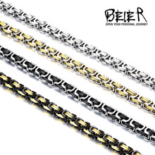 Beier Stainless Steel Necklace Men Punk Rock Jewelry High Quality Pulseira Masculina Byzantine Chain Link Necklace For Women