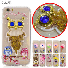 3D Hot Owl Hello Kitty Cosmetic bag Bear Phone Case For iPhone6s For Apple iPhone7 7 Plus Liquid quicksand Phone Back Cover(China)