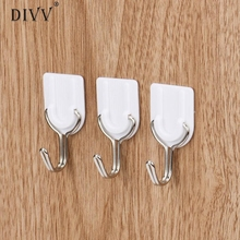6PCS Strong Adhesive Hook Wall Door Sticky Hanger Holder Kitchen Bathroom White Drop shipping8 4(China)