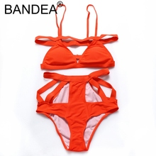 BANDEA New Bikinis Women 2017 Sexy Wire Free Halter Orange Bikini 2017 Push up Women Bandage Mid Waist Solid Swimwear Swim Suit