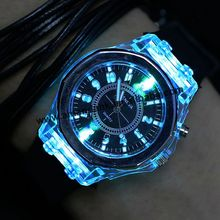 2017 led light geneva fashion women crystal watch unisex silicone jelly candy watch fashion flash up backlight watches
