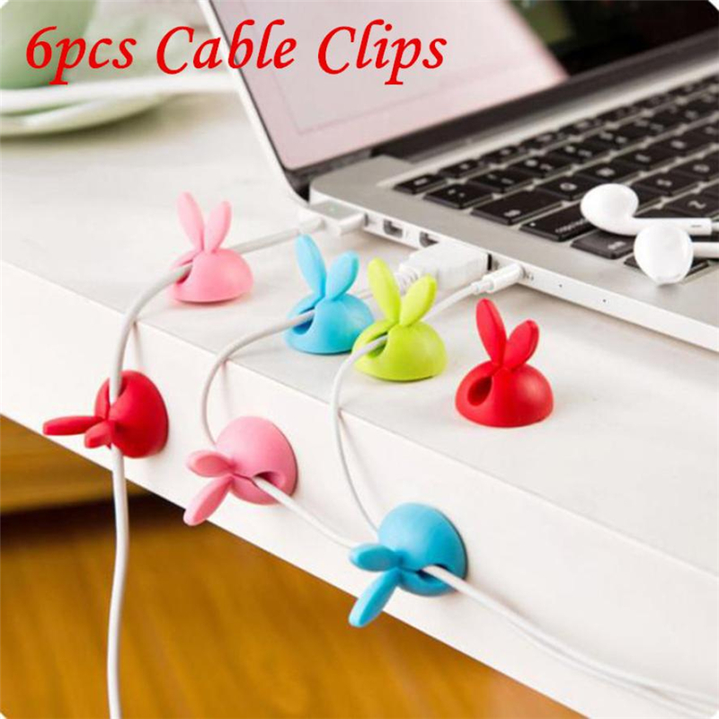New Creative  6 x Cable Clip Desk Tidy Wire Drop Lead USB Charger Cord Holder Secure Table Wear-resistant hot sale Easy UseC022802