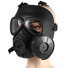 Plastic Military Unisex Gas Mask With Transparent Glasses Black Mask With Full Face Protection Filter Tank Military Supplies