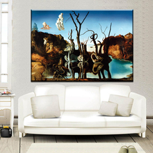xdr566 Salvador Dali Fantasy Skull War Clocks Surreal Classic Art Painting canvas Poster Decor 12x18 16X24 20x30 24x36 Inch Free