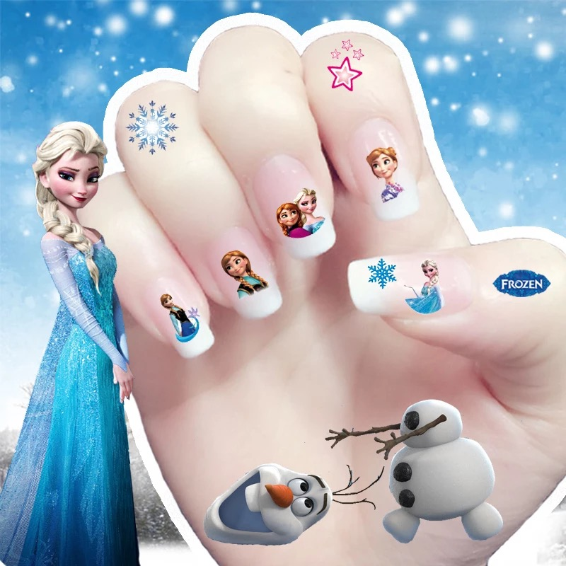 2017 New cartoon korea Waterproof 3D Nails Sticker fairy elsa princess Design Nails Foil Sticker Decor Decals for children(China)