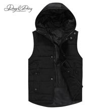 2016 Men's Waistcoat Winter Fashion Sleeveless Jacket Padded Stand Collar Black White Thicken Brand Casual Men Vest DCT-088