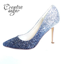 Creativesugar blue glitter Gradient color pointed toe lady pumps bling shining bridal wedding party dress shoes high heels