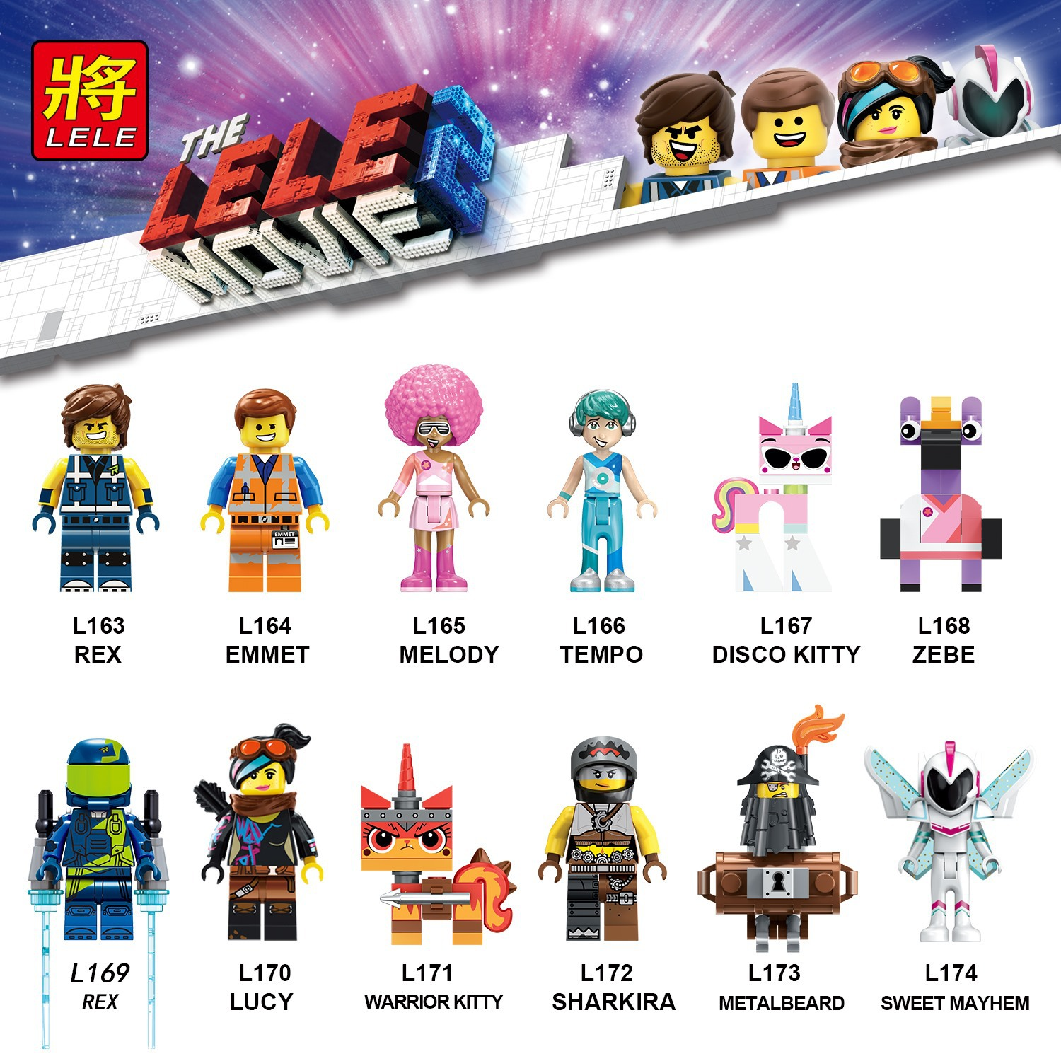 Legoing Moives 2 Emmet Lucy Melody Tempo Disco Warrior Kitty ZEBE Rex Creators Figures Wyldstyle Building Toys for Kids Legoings