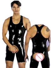 Buy Hole Catsuit Men Sexy Faux Latex Leather Wetlook Costumes Gay Men Body Harnesses Wear Sexy Game Apparel Teddies Bodysuits