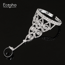 Fashion Brand Tear Drop Bridal Rhinestone Hand Harness Bracelet Slave Chain Link Finger Ring Bracelets Bangles For Women Jewelry(China)