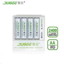 NEW ARRIVAL 4pcs 1.5v JUGEE lithium li-ion 2400mwh rechargeable batteries with 4 ports charger pack set NEW techology !